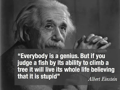Everybody is a genius. But if you judge a fish by its ability to climb a tree it will live its whole life believing that it is stupid.