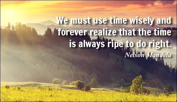 We must use time wisely and forever realize that the time is always ripe to do right. - Nelson Mandela
