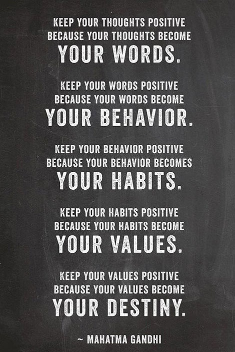Keep your thoughts positive because your thoughts become your words. Keep your words positive because your words becomes your behavior. Keep your behavior positive because your behavior becomes your habits. Keep your habits positive because your habits becomes your values. Keep your values positive because your values becomes your destiny.