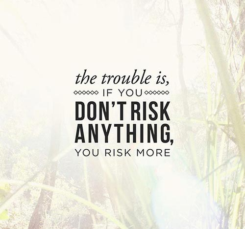 The trouble is, If you don't risk anything, you risk more.