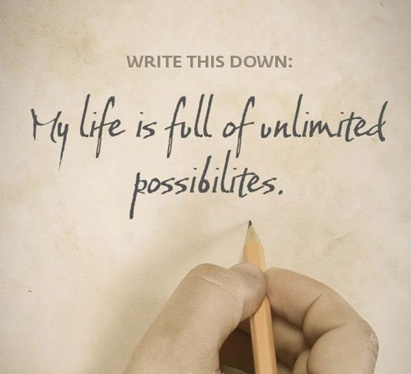 A14 positive quotes about life. My life is full of unlimited possibilities.