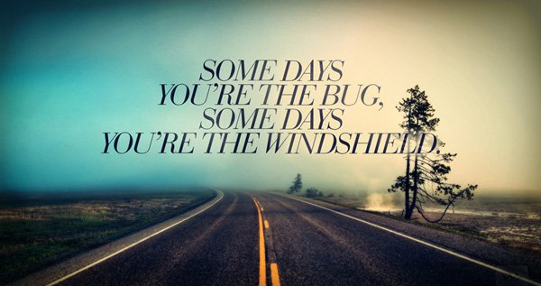 A16 Inspirational Life Quotes. Some days you're the bug, some days you're the windshield.