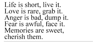 smart quotes - Life is short, live it. Love is rare, grab it. Anger is bad, dump it. Fear is awful, face it. Memories are sweet, cherish them.