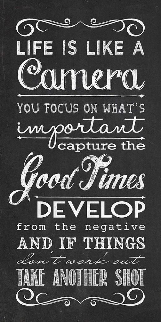 A17 Inspirational Life Quotes. Life is like a camera, you focus on what's important, capture the good times, develop from the negative and if things don't work out, Take another shot.