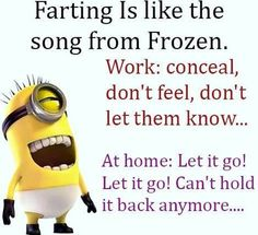 funny quotes - Farting is like the song from frozen. Work: conceal, don't feel, don't let them know. At home: let it go ! let it go ! can't hold it back anymore.