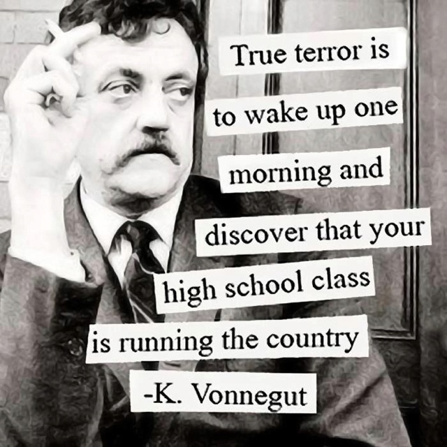 A18 kurt vonnegut quotes - True terror is to wake up one morning and discover that your high school class is running the country.