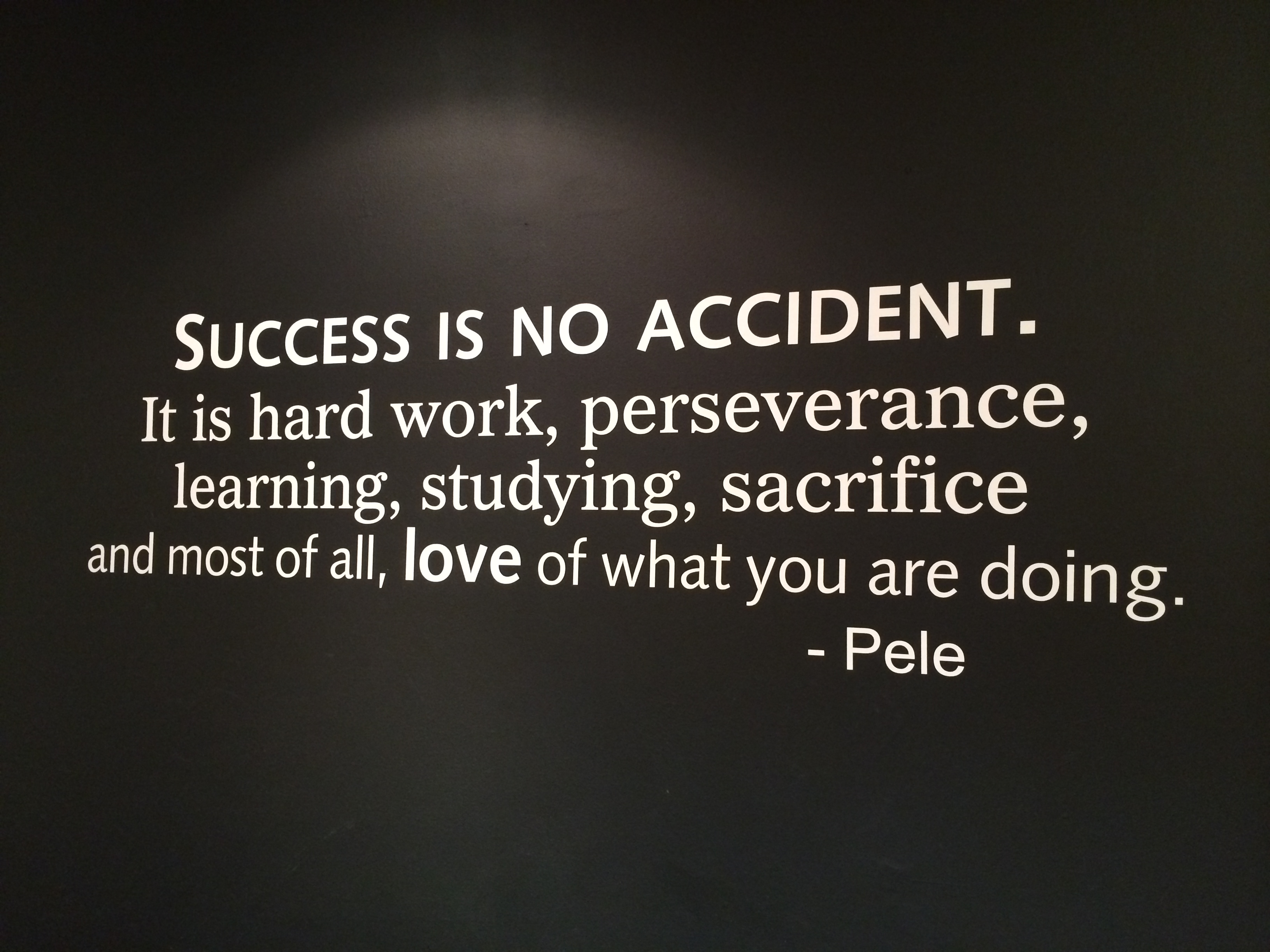 Success is no accident. It is hard work, perseverance, learning, studying, sacrifice and most of all, love of what you are doing. - Pele