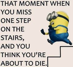 funny quotes - That moment when you miss one step on the stairs, and you think you're about to die.
