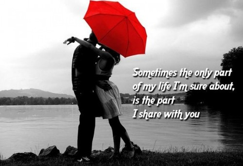 Sometimes the only part of my life, I'm sure about, is the part I share with you.