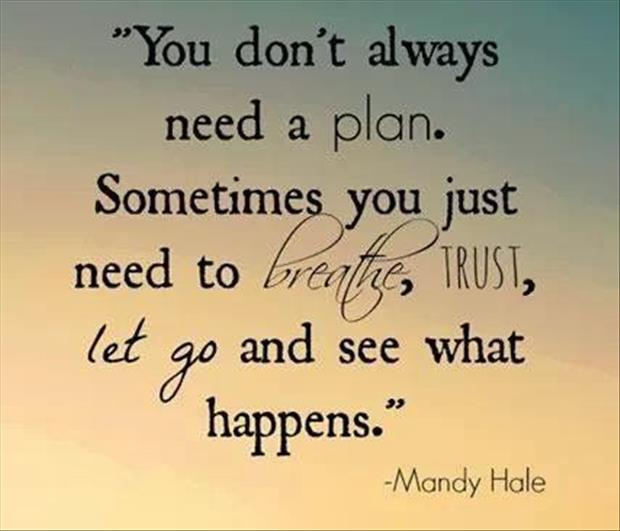 You don't always need a plan. Sometimes you just need to breathe, trust, let go and see what happens. - Mandy Hale