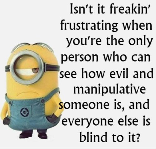 Isn't it freaking frustrating when you're the only person who can see how evil and manipulative someone is, and everyone else is blind to it ?