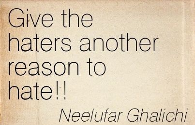 smart quotes - Give the haters another reason to hate. - Neelufar Ghalichi