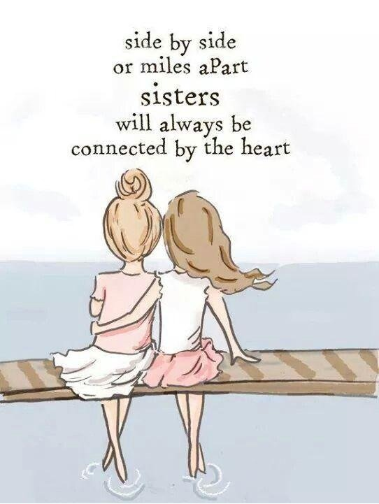 Quotes About Sisters A14. Side by side or miles apart sisters will always be connected by the heart.