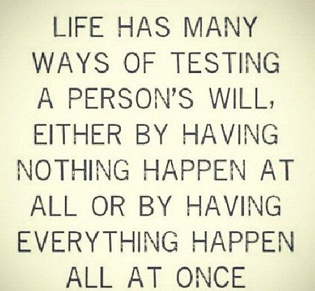 Quotes On Strength A3. Life has many ways of testing, A person's will. Either by having nothing happen at all or by having everything happen all at once.